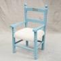 Vintage stoeltje helder blauwe met crème witte zitting. Naam Dex is het rechte lettertype. Prijs is vanaf €49,50